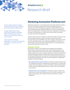 SiriusView: Marketing Automation Platforms 2017
