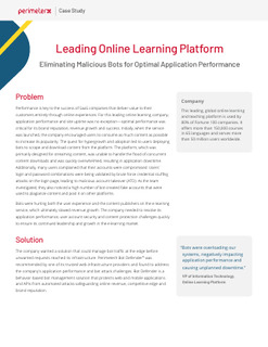 Leading Online Learning Platform: Eliminating Malicious Bots for Optimal Application Performance