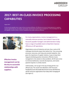 2017:  Best-in-Class Invoice Processing Capabilities