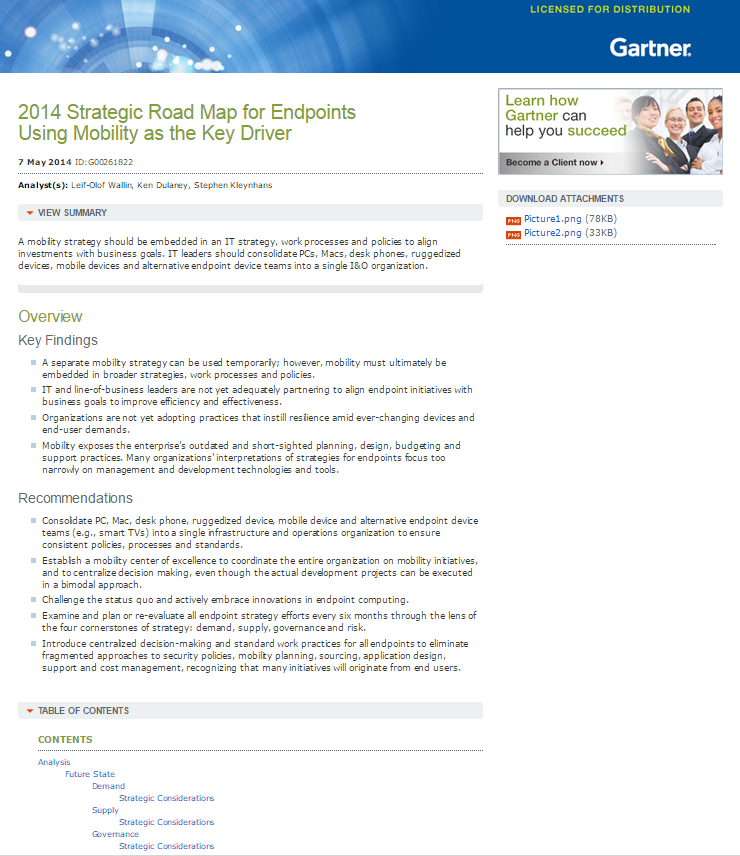 2014 Strategic Road Map for Endpoints Using Mobility as the Key Driver