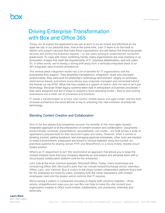 Driving Enterprise Transformation with Box and Office 365