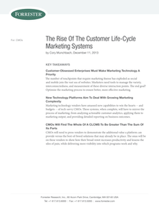 Forrester: The Rise Of The Customer Life-Cycle Marketing Systems