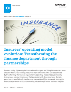 Insurers' Operating Model Evolution:  Transforming the Finance Department Through Partnerships