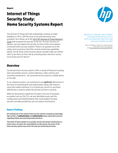 HP Internet of Things Security Study: Home Security Systems Report