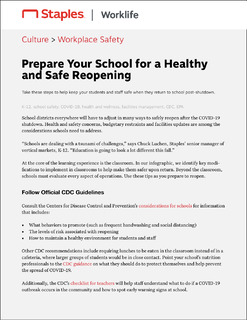 Prepare Your School for a Healthy and Safe Reopening