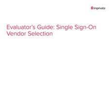 Evaluator's Guide:  Single Sign-On Vendor Selection