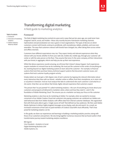 Transforming Digital Marketing: A Field Guide To Marketing Analytics