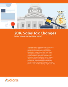 2016 Sales Tax Changes – What's New for the New Year?