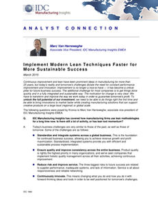 Implement Modern Lean Techniques Faster for More Sustainable Success