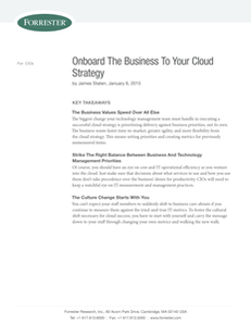 Onboard The Business To Your Cloud Strategy