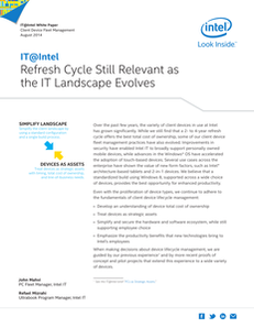 Refresh Cycle Still Relevant as the IT Landscape Evolves