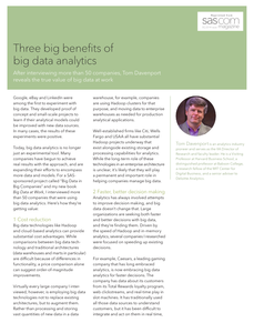 Three Big Benefits of Big Data Analytics