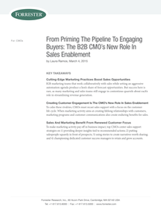 From Priming The Pipeline To Engaging Buyers: The B2B CMO's New Role In Sales Enablement