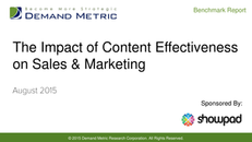 Demand Metric Report- The Impact of Content Effectiveness on Sales & Marketing