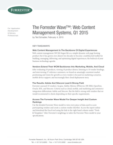 The Forrester Wave: Web Content Management Systems, Q1 2015
