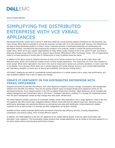 Simplifying the Distributed Datacenter with VCE VxRail Appliances