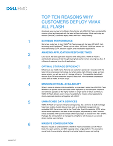 Top 10 Reasons Why Customers Deploy VMAX All Flash