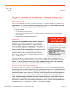 Buyer's Criteria for Advanced Malware Protection