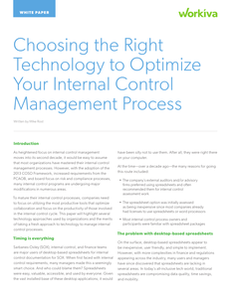 Choosing the Right Technology to Optimize Your Internal Control Management Process