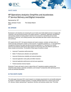 HP Operations Analytics Simplifies and Accelerates IT Service Delivery and Digital Innovation