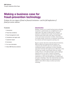 Making a Business Case for Fraud-prevention Technology