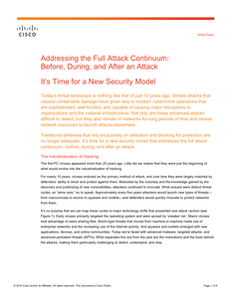 Addressing the Full Attack Continuum: Before, During, and After an Attack