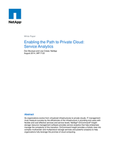 Enabling the Path to Private Cloud: Service Analytics