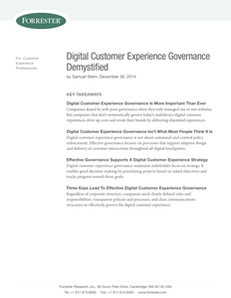 Forrester Research: Digital Customer Experience Governance Demystified