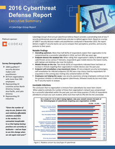 2016 Cyberthreat Defense Report – Executive Brief