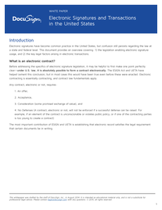 DocuSign: Legal Electronic Signatures and Transactions in the US