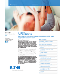 UPS Basics: Everything you ever wanted to know about UPSs but were afraid to ask