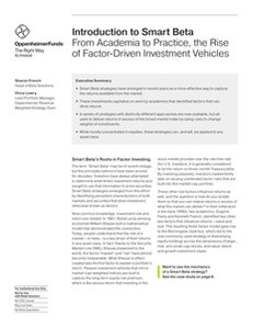Introduction to Smart Beta From Academia to Practice, the Rise of Factor-Driven Investment Vehicles