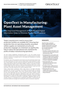 OpenText in Manufacturing: Plant Asset Management