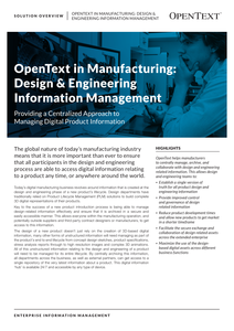 OpenText in Manufacturing: Design & Engineering Information Management