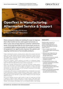OpenText in Manufacturing: Aftermarket Service & Support