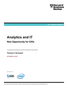 Harvard Business Review: Analytics and IT: New Opportunity for CIOs (Key Learning Summary)