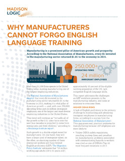 Why Manufacturers Cannot Forgo English Language Training