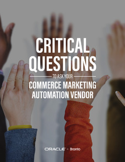 Critical Questions to Ask Your Commerce Marketing Automation Vendor