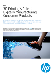 3D Printing's Role In Digitally Manufacturing Consumer Products