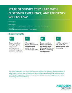 State of Service 2017: Lead with Customer Experience, and efficiency will follow