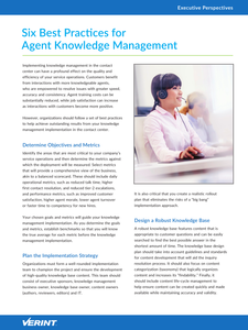 Six Best Practices for Agent Knowledge Management