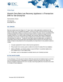 Oracle's Zero Data Loss Recovery Appliance: A Transaction DVR for the Enterprise