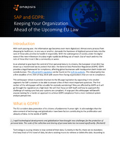Onapsis Research Whitepaper – SAP & GDPR: Keeping Your Organization Ahead of the Upcoming EU Law