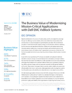 The Business Value of Modernizing Mission-Critical Applications with Dell EMC VxBlock Systems