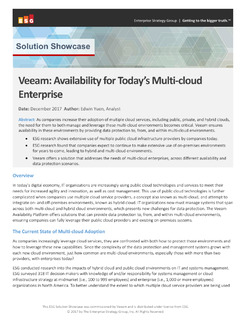 Veeam: Availability for Today's Multi-Cloud Enterprise
