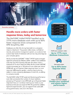 DellEMC VxRail P470F vs HPE SimpliVity Database Performance