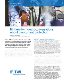 It's time for honest conversations about overcurrent protection