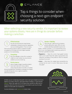 Top 4 things to consider when choosing a next-gen endpoint security solution