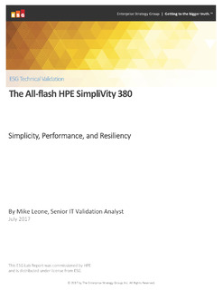 ESG Technical Validation: All-Flash HPE SimpliVity 380