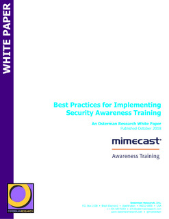 Whitepaper: Best Practices for Implementing Security Awareness Training (Osterman)